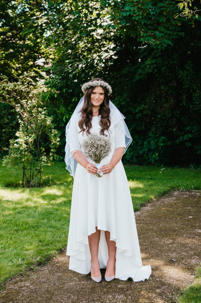 Beautiful Bride With Short Hem and Flower Crown