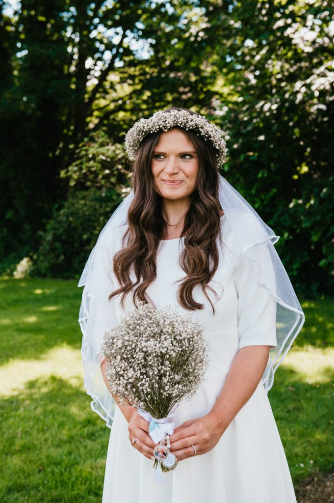 Gorgeous Bride with Flower Crown and Vintage Veil
