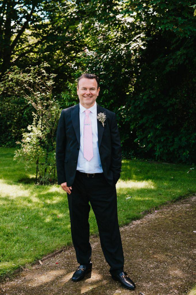 Groom Portrait Leatherhead Registry Wedding