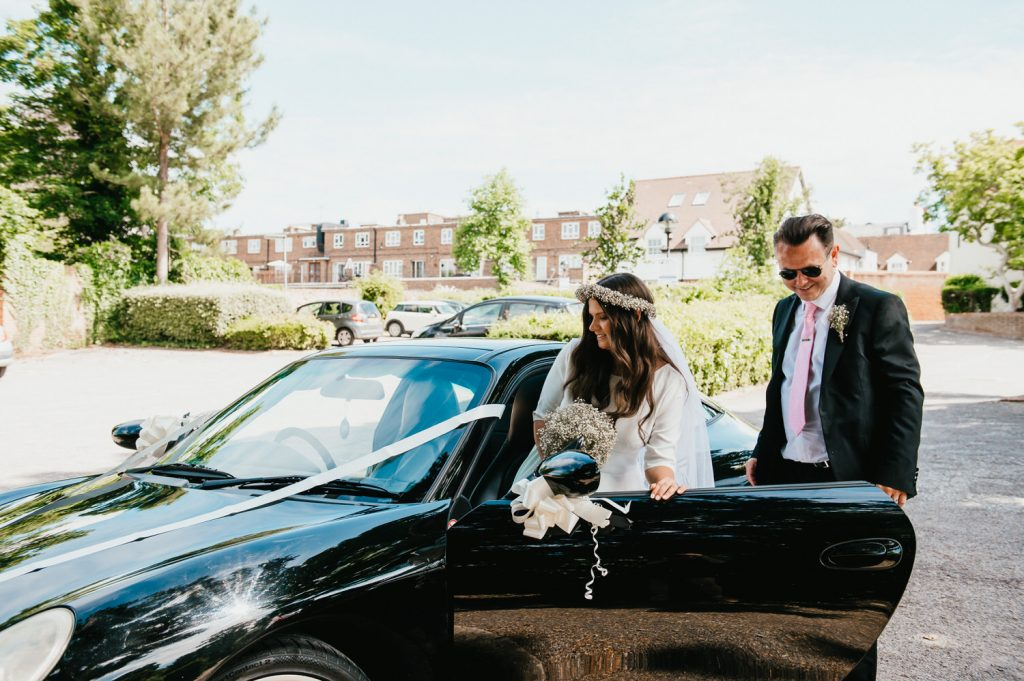 Couple Travel in Vintage Sports Car Together, Intimate Micro Surrey Wedding