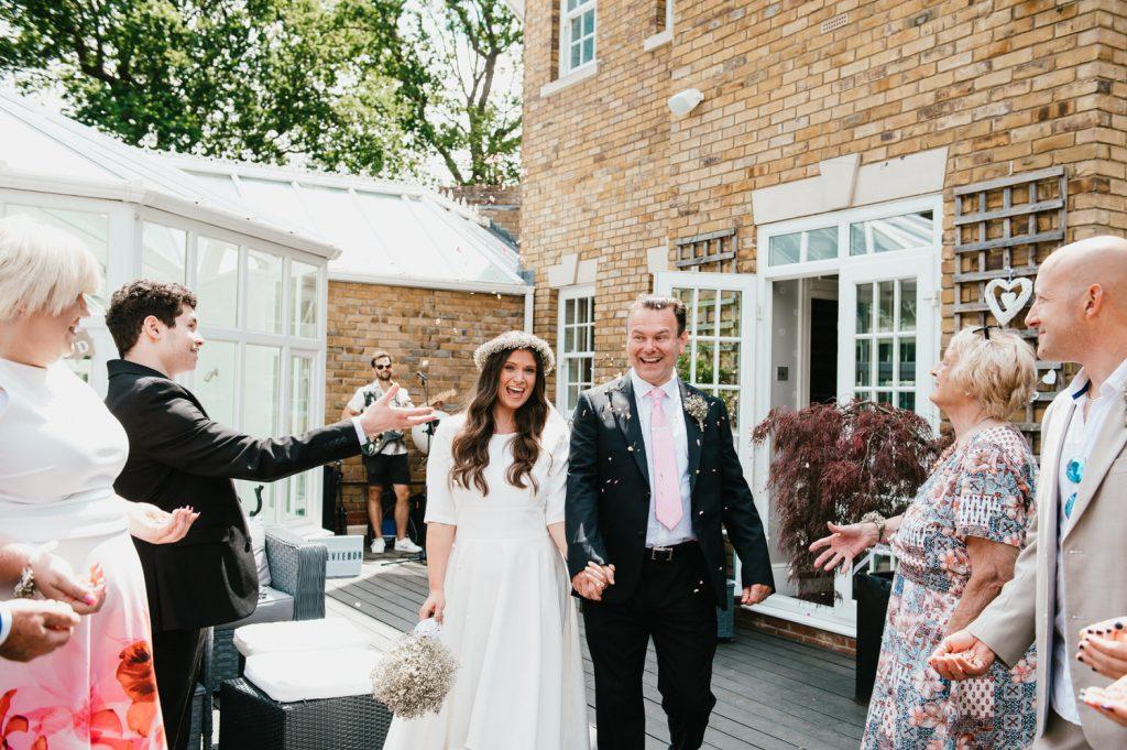 Intimate Wedding Confetti Aisle, Micro Surrey Wedding