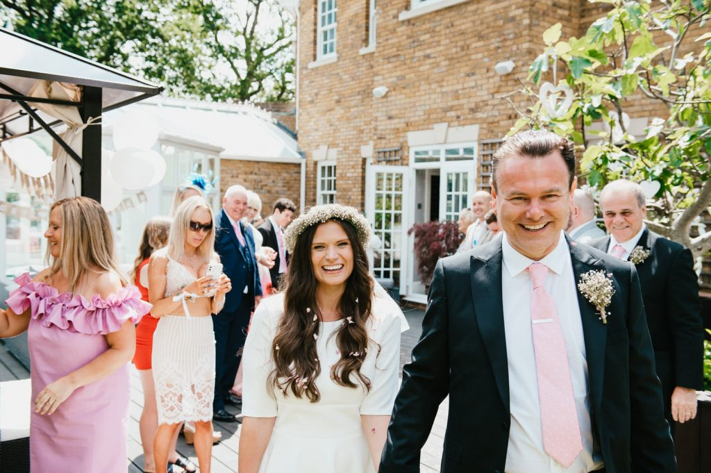 Fun Intimate Wedding Confetti Aisle, Micro Surrey Wedding