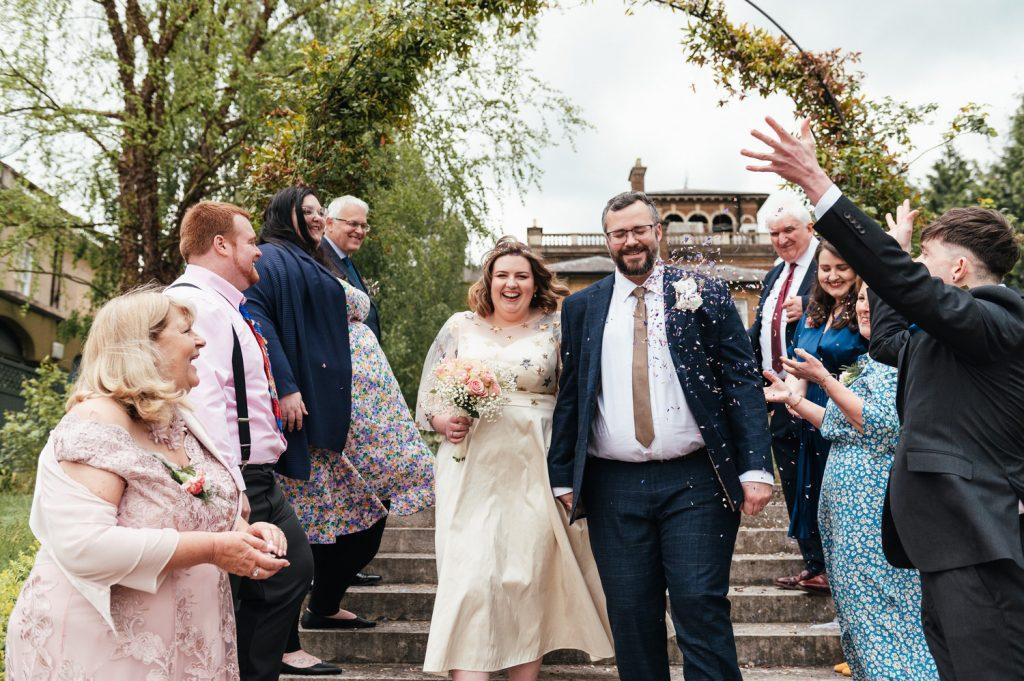 Fun Confetti Moments Intimate Surrey Wedding Photography