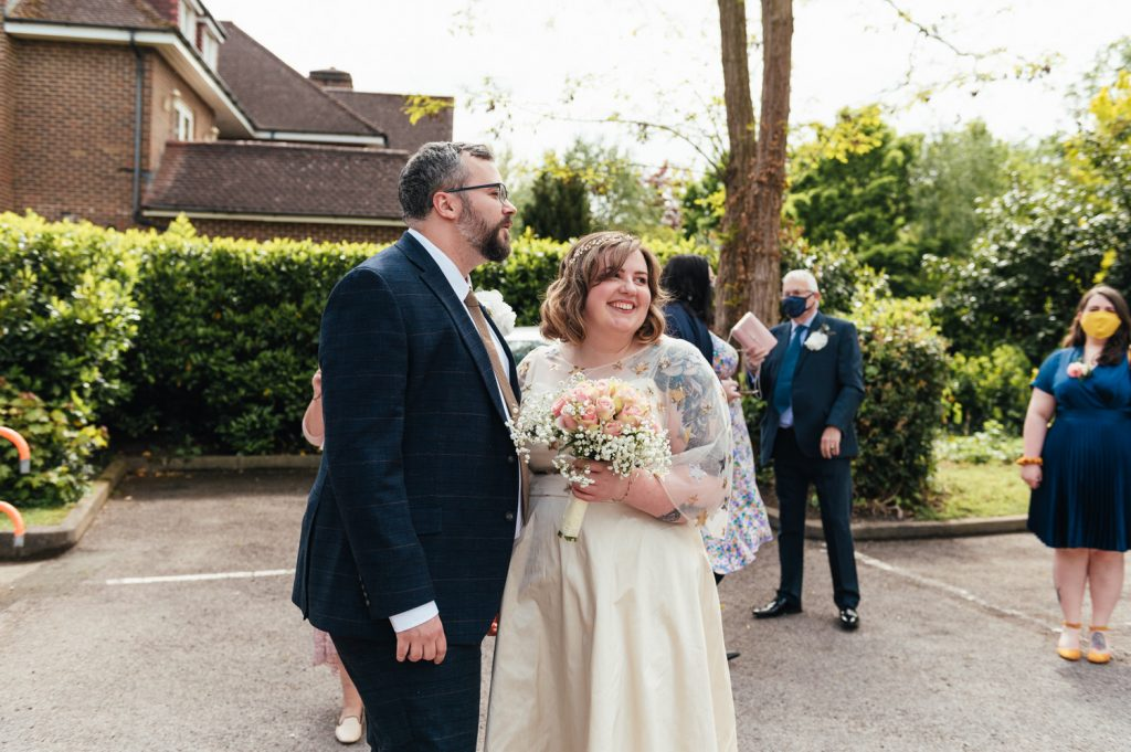 First Look Arrival of Wedding Couple, Weybridge Resister Wedding Photography