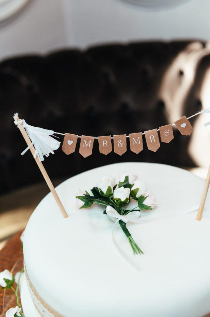 Wedding Cake Details at Intimate Pub Reception