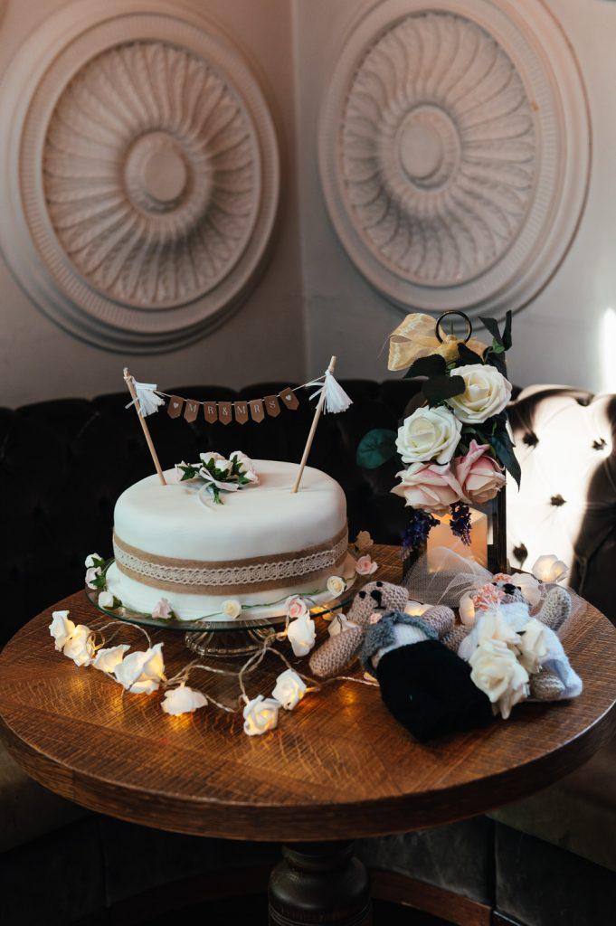 Wedding Cake at Intimate Pub Reception