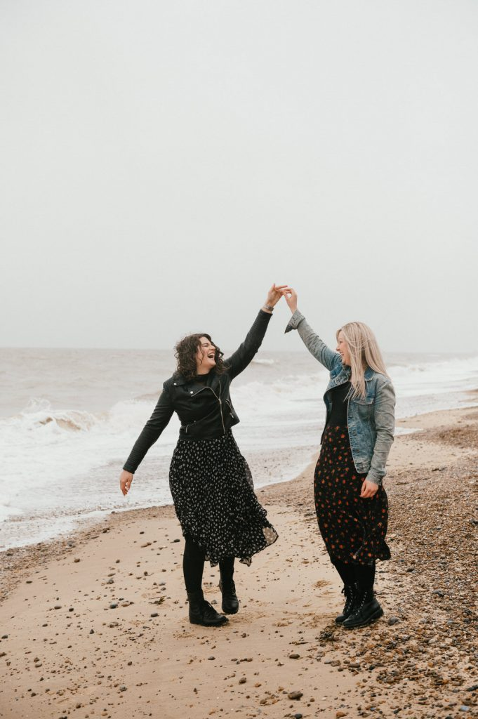 Couple Dance in The Rain, Beach Engagement Photography